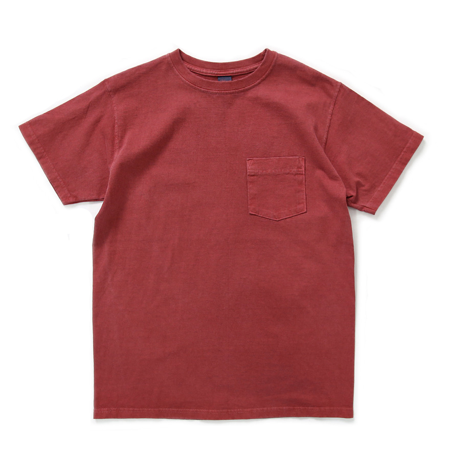 Crew Neck Pocket T-shirts - P-F.Red