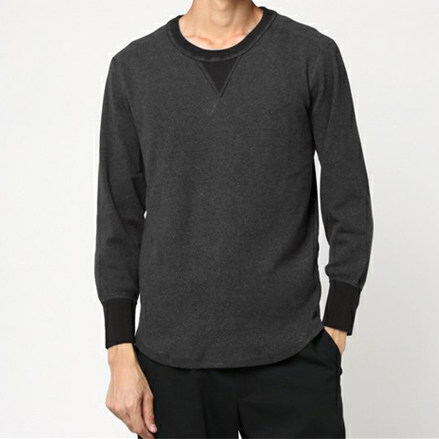 Heather Rib Stitch Gasset Tee - Black