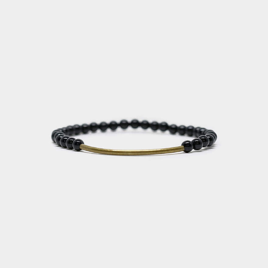 Tubular Bracelet_Brass - Black Onyx