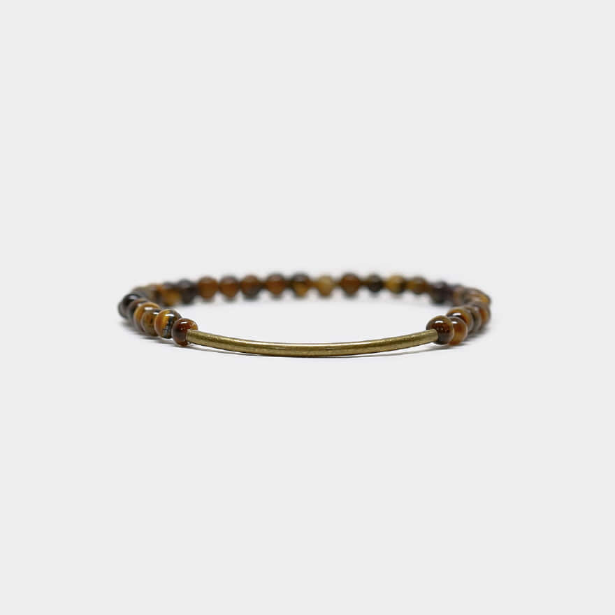 Tubular Bracelet_Brass - Gold Tiger Eye
