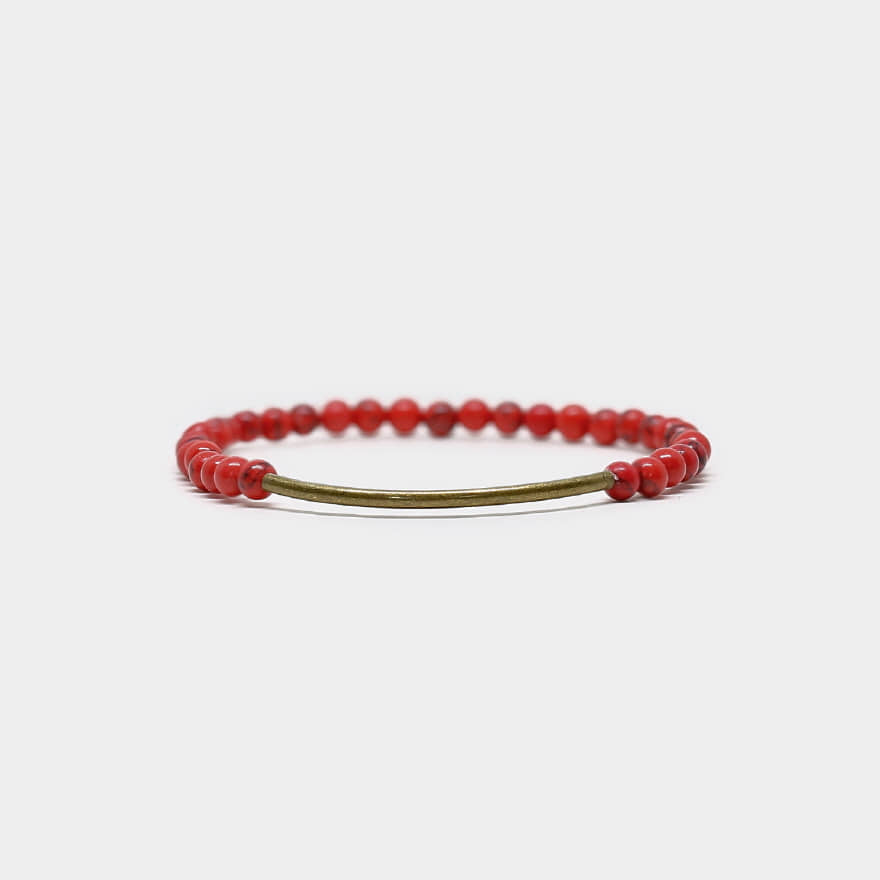Tubular Bracelet_Brass - Red Howlite