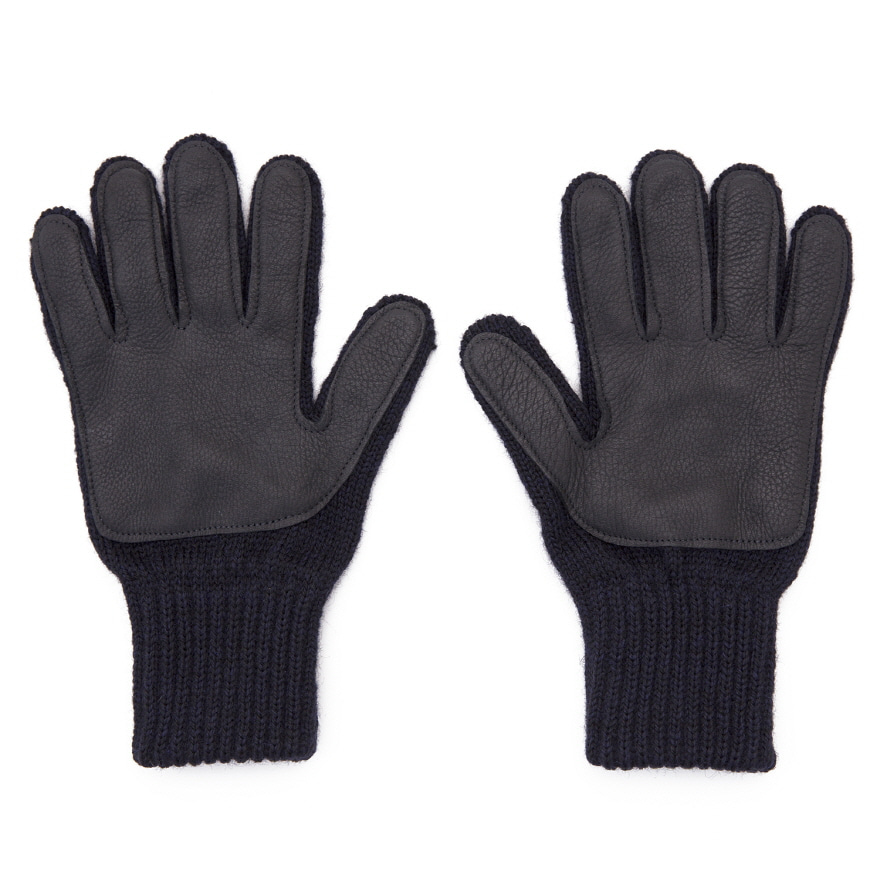 Wool Glove (Palm Leather) - Navy