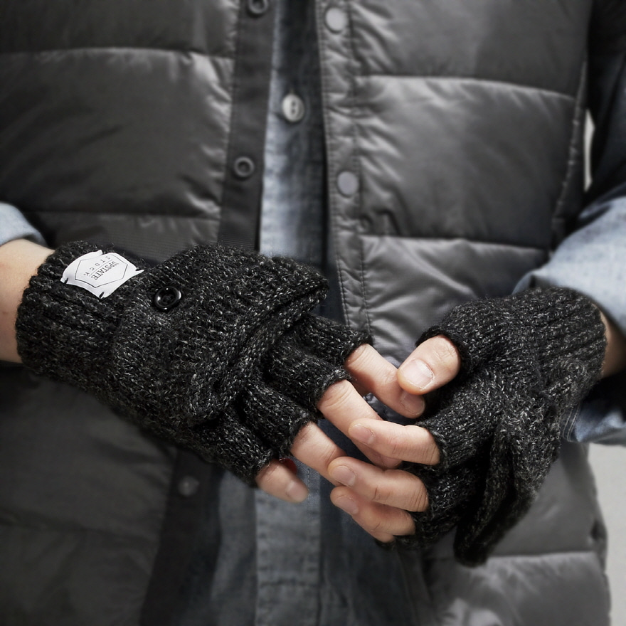 Fingerless Wool Glomitt Glove (Palm Leather) - Black