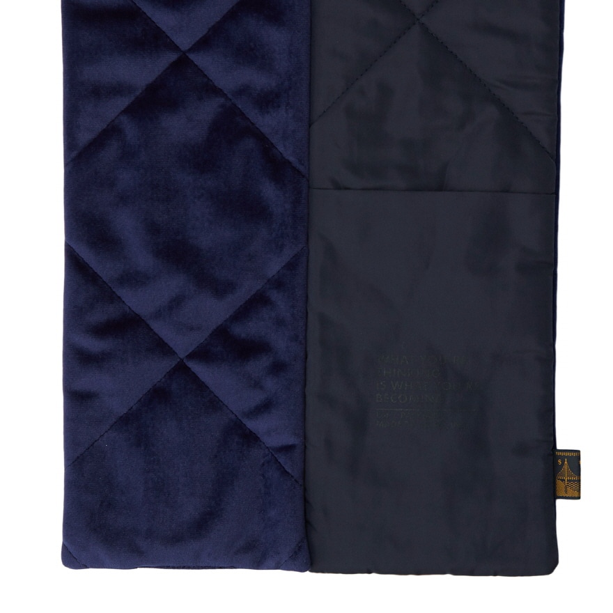 Pocket Velour Muffler - Navy