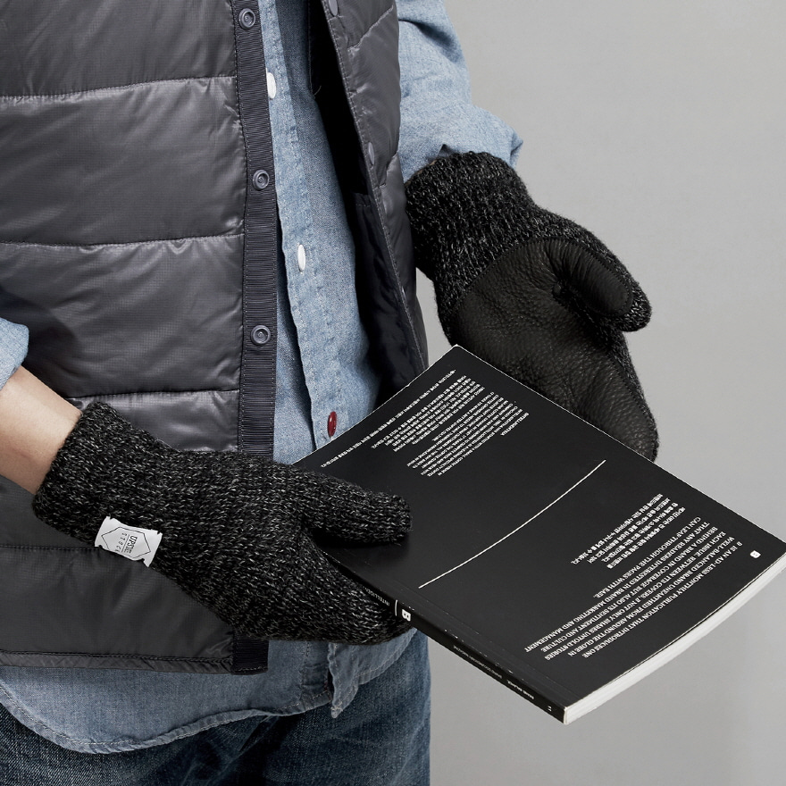 [재입고] Mitten Wool Glove (Palm Leather) - Black