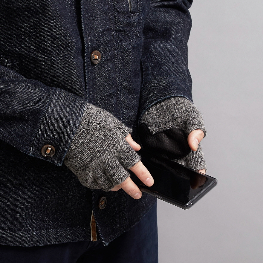 Fingerless Wool Glove (Palm Leather) - Charcoal