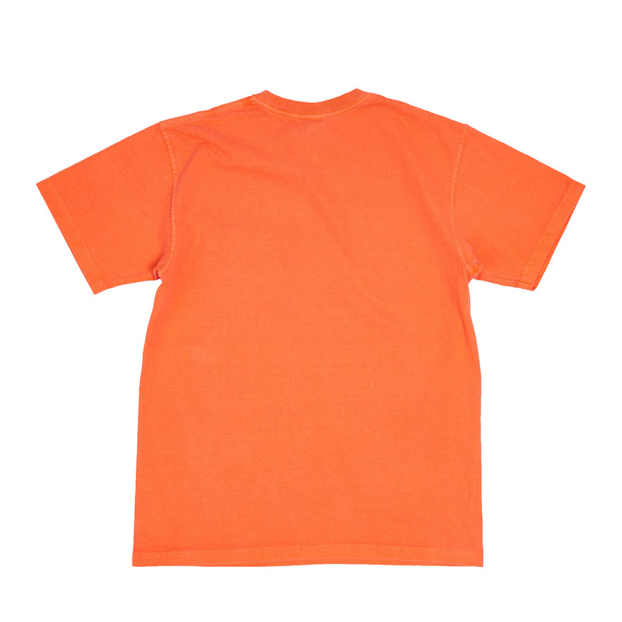 Crew Neck Pocket T-shirts - P-Orange